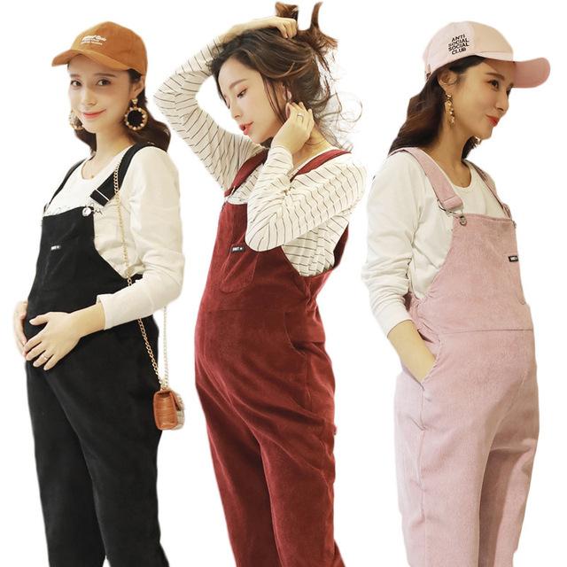 BAHEMAMI New Jumpsuit Maternity Pants Long Corduroy Pregnancy Clothes For Pregnant Women Overalls Roupa Gestante Trousers Autumn