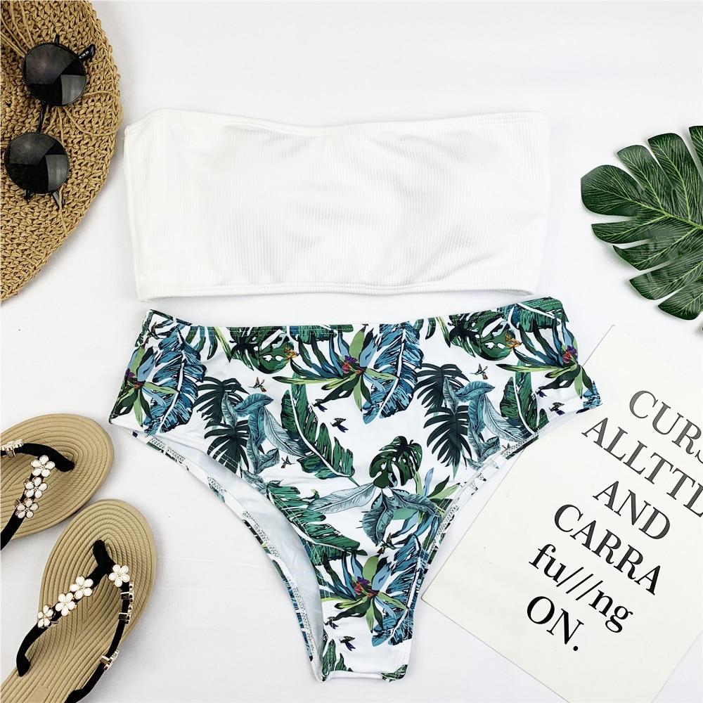 HTB1Ni0XSrvpK1RjSZFqq6AXUVXaQ Sexy Bandeau Bikini Set Women Floral Print Swimwear Push Up Swimsuit Brazilian Biquini Pink Bikinis Pad Bathing Suit Beachwear