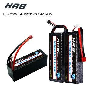 Image 1 - HRB Lipo 7,4 V 11,1 V 14,8 V 2S 3S 4S 2P Аккумулятор 7,4 V 7000mah 55C T DEAN XT60 MAX 110C Жесткий Чехол для RC 1/10 Scale Trx Stampede Car