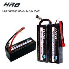 HRB batería Lipo para coche de control remoto, carcasa rígida para coche de radiocontrol, 7,4 V, 11,1 V, 14,8 V, 7,4 V, 2S, 3S, 4S, 2P, 7000 V, 1/10 mah, 55C, T, DEAN XT60 MAX, 110C