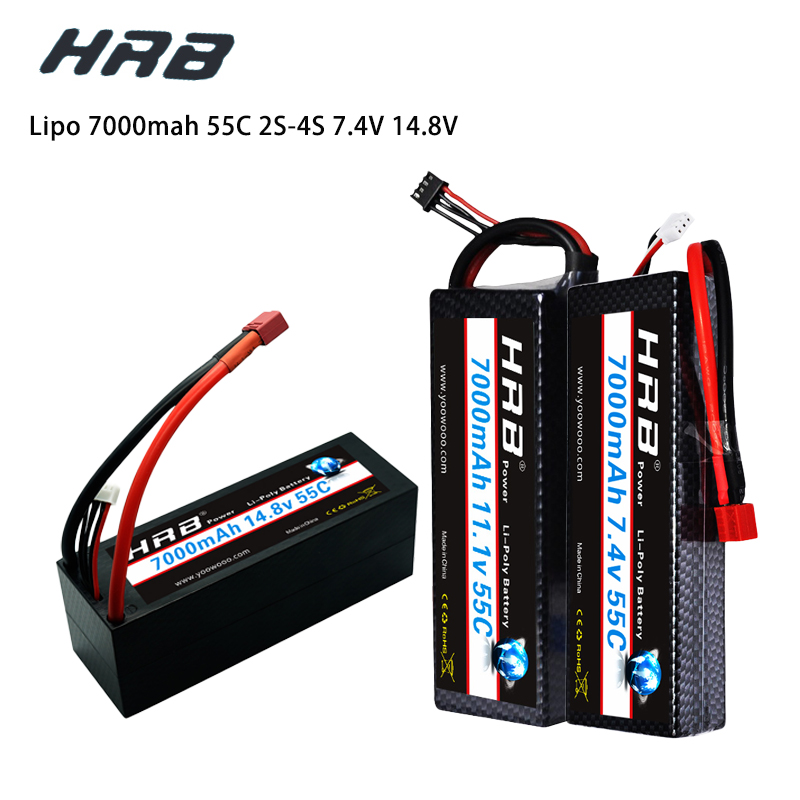 HRB Lipo 7.4V 11.1V 14.8V 2S 3S 4S 2P Battery 7.4V 7000mah 55C T DEAN XT60 MAX 110C Hard Case for RC 1/10 Scale Trx Stampede Car image