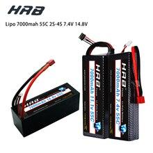 Hrb Lipo 7.4V 11.1V 14.8V 2S 3S 4S 2P Batterij 7.4V 7000mah 55C T Dean XT60 Max 110C Hard Case Voor Rc 1/10 Schaal Trx Stampede Auto