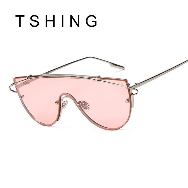 New Oversized Women Flat Top Sunglasses Steampunk Mirror