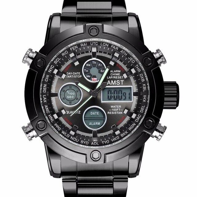 c135e3bd39e Men Watch AMST Marca Relógio Dupla Afixação Masculino Relógio Esportivo  Preto Moda Casual Chronograph Militar 50