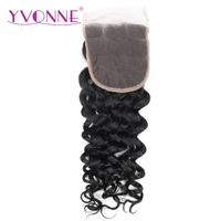 YVONNE Italian Curly Brazilian Human Hair Closure 4x4 Free Part Lace Closure Natural Color Free Shipping