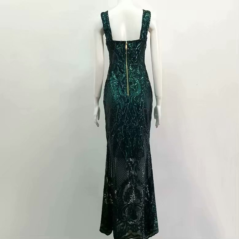 Elegante Lentejuelas Fiesta Verde Slim Maxi Noche Piso Sexy Vestidos Vestido De longitud Mujeres 4Y7wI