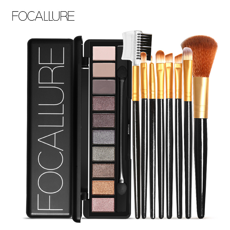 FOCALLURE 10 Colors Eyeshadow Palette Waterproof Cosmetic With 8 Pcs Makeup Brush Eye Shadow Brush Blush Brush Maquiagem Kit cosmetic 4 colours diamond eyeshadow palette with mirror and brush