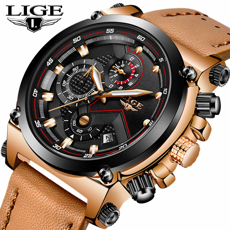 LIGE Mens Watches Top Brand Luxury Casual Quartz Watch Men Leather Big Dial Military Waterproof Sports Watches Relogio Masculio weide new men quartz casual watch army military sports watch waterproof back light men watches alarm clock multiple time zone