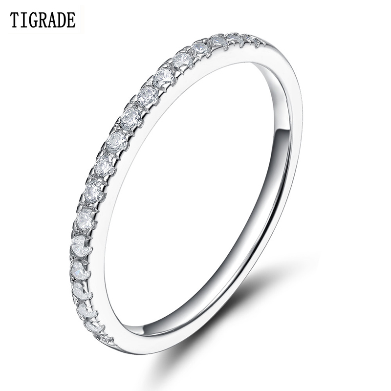 Tigrade 925 Sterling Silver Rings Women Wedding Band Engagement Cubic Zirconia Ring Fashion Beautiful Simple Statement Jewelry men beaded bracelet red