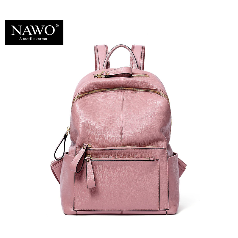 NAWO New Fashion Genuine Leather Backpack Women Bags Preppy Style Backpack Girls School Bags Zipper Shoulder Women's Back Pack qiaobao fashion 100% genuine leather backpack women bags preppy style backpack girls school bags zipper kanken leather back
