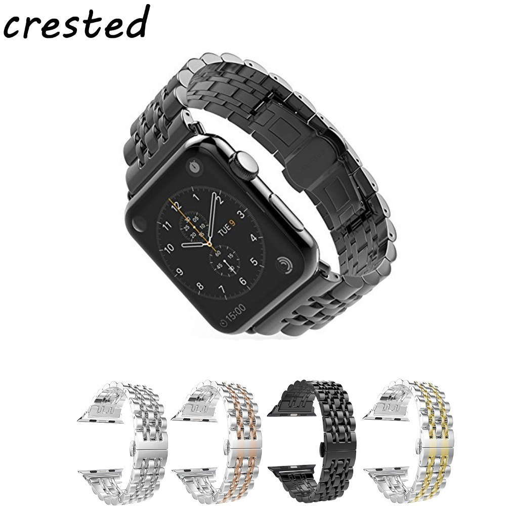 CRESTED link bracelet for apple watch band 42mm 38mm Stainless Steel butterfly buckle watchband for iwatch 3/2/1 black strap stylish 8 led blue light digit stainless steel bracelet wrist watch black 1 cr2016