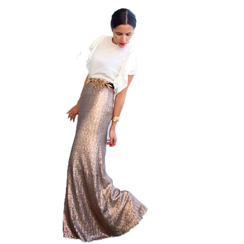 High Quality Rose Gold Sequins Skirt Custom Made Sequined Long Maxi Skirt  for Women to Formal - Online Get Cheap Gold Maxi Skirt -Aliexpress.com Alibaba Group