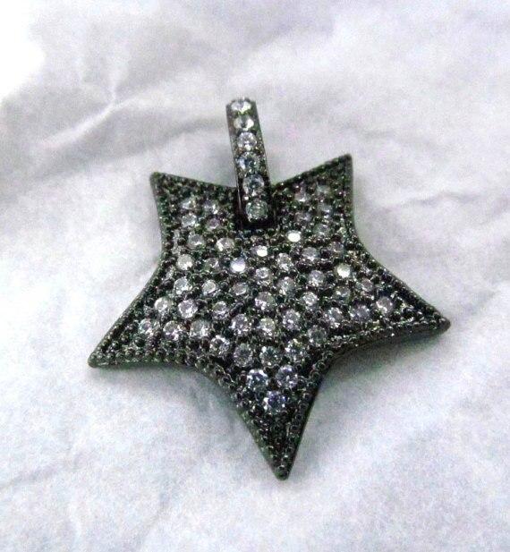 Livraison gratuite-6 pièces 25mm Top qualité Micro cristal Pave diamant boucles d'oreilles gunmetal bijoux Focal étoile pointes bijoux perles