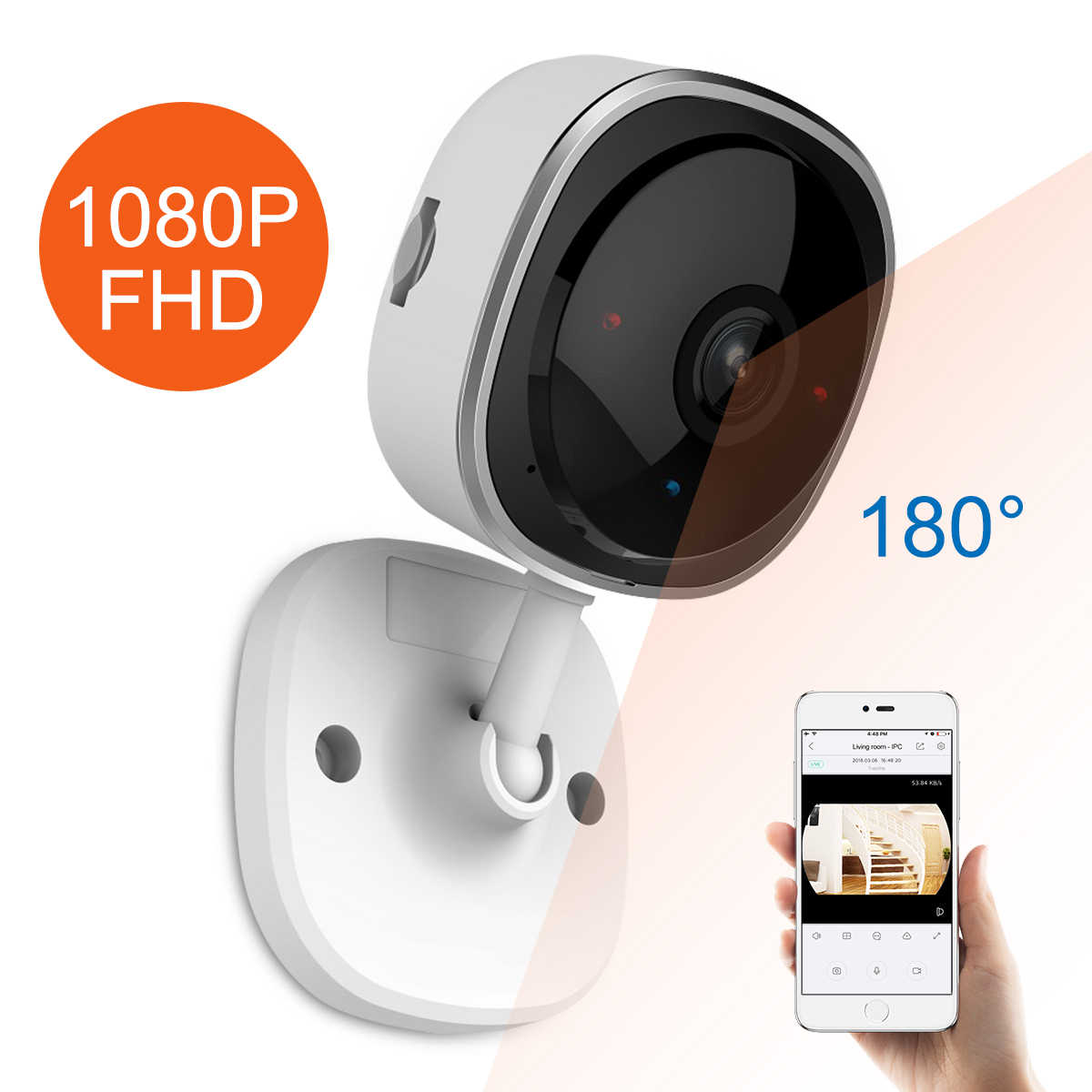 Sannce Hd 1080P Fisheye Ip Camera Draadloze Wifi Mini Netwerk Camara Nachtzicht Ir Cut Home Security Camara Wifi babyfoon