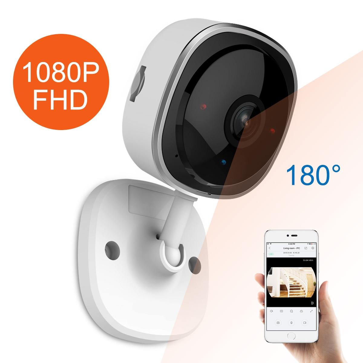 SANNCE HD 1080P рыбий глаз IP камера беспроводная Wi Fi Мини Сеть Камара ночного видения IR Cut домашняя камера безопасности Wi Fi радионяня-in Камеры видеонаблюдения from Безопасность и защита