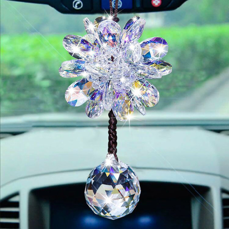 Top Grade Handmade Floral Crystal Drop Pendant Charm Car Hanging Ornament Decoration Car Accessories