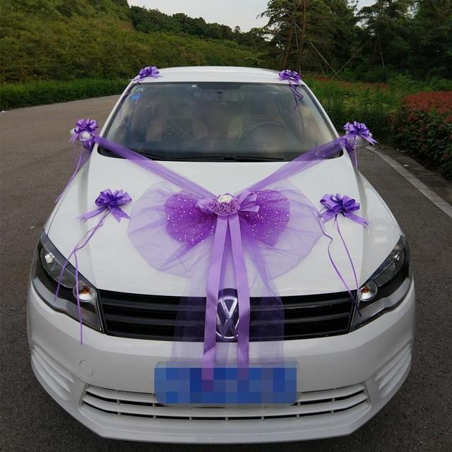 mariage décoration de voiture fleurs artificielle organza arc rose