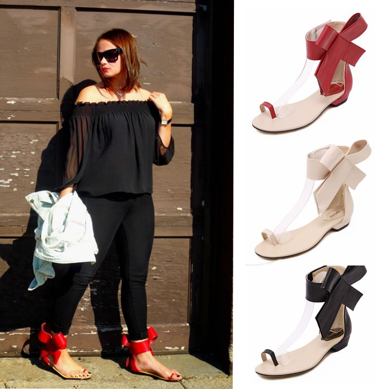 2019 women's shoes summer sandals Big Bowknot Low-heeled peep toed shoes woman Red Bride Wedding Party dress shoes large size 43