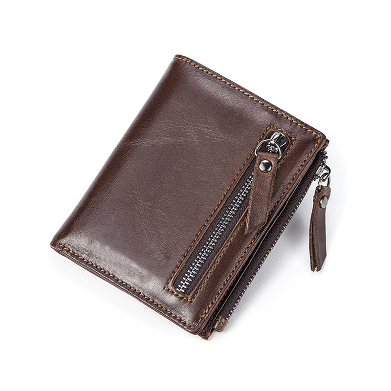 2018 wallet card organizer phone bit male money bag coin pocket genuine leather concise purse men double zipper drop shipping