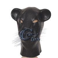 Crazy club_Black Latex Hond Masker met back rits Hoofd Kostuum Theater Prop Novelty Rubber Volledige Gezicht Dier Party Hood
