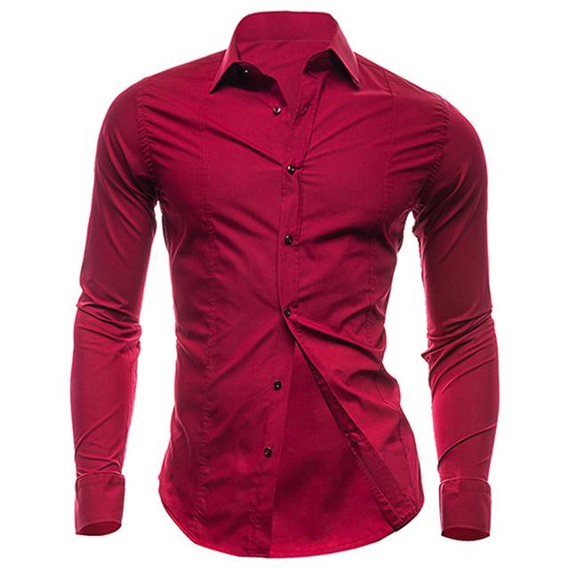 Novo 2016 Mens camisas de vestido elegante conforto dos homens de manga comprida camisa de algodão sólidos magro negócios e casuais camisa dos homens camisa nova versão