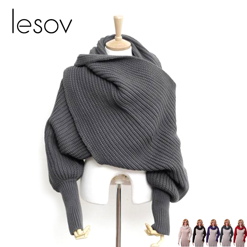 Lesov Novelty Unisex Women Knitted   Scarf   With Sleeves Long   Wraps     Scarves   For Ladies Shawls Stole Men Sweater Scarfs Autumn 2018