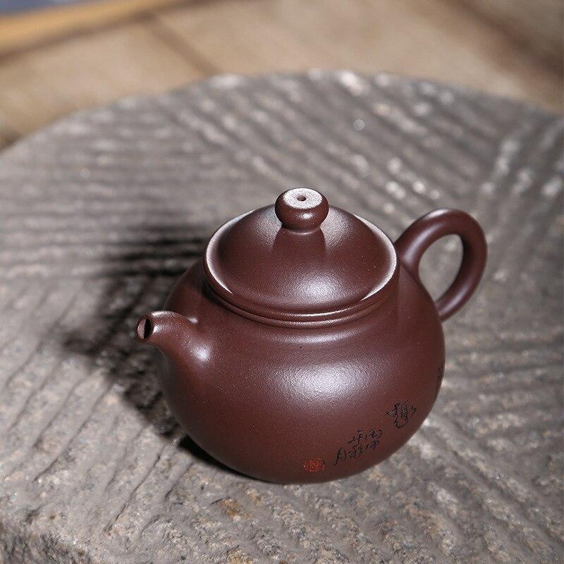 Tetera de arcilla púrpura Yixing, mina de Teaware, viejo anillo de arcilla púrpura, botón, tetera hecha a mano, regalo personalizado, un sustituto - 3