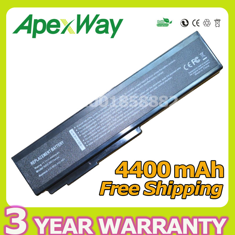Apexway 4400mAh 10.8V laptop battery for ASUS A32-M50 A32-N61 A32-X64 A33-M50 G50 G51 M50 M60 N43 N61 X55 X57 X64 N53 Series