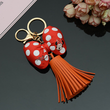 Leather Minnie Mouse Tassel Keychain
