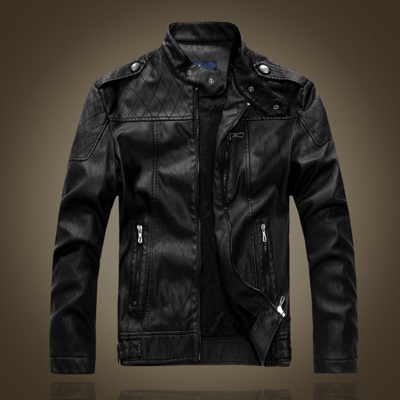 Moški usnjeni jakni DHfinery imajo ovratnik vitek PU usnjena jakna - Moška oblačila - Fotografija 2