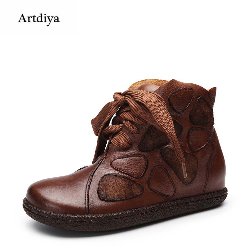 Artdiya 2018 Winter Original New Genuine Leather Casual Ankle Boots Retro Handmade Flat Height Increasing Women Boots 121-61 ...