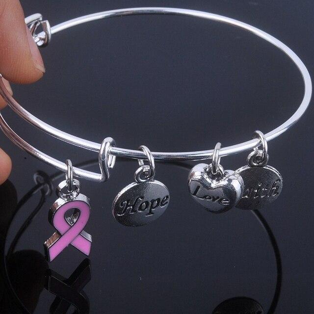 Уход для рака молочной железы розовой ленточкой браслеты надежда любовь вера прелести браслет регулируемый браслеты для ювелирных изделий