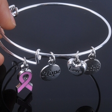 Care For Breast Cancer pink ribbon bangles Hope Love Faith charms bracelet adjustable bangles for Jewelry