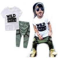 2017 Baby Boys Clothing Set Toddler Cotton Kids Clothes Summer Casual Children Suit Infant T-shirt+Harem Pants 2Pcs Boy Suit