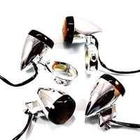 Chrome 4PCS X LED Motorcycle Turn Signal Light Indicator Lamp With 39mm Fork Clamp For Harley Dyna Sportster Bobber Cruiser