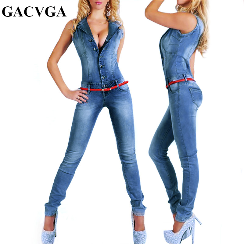 GACVGA New Arrival Sleeveless Jumpsuit Jeans Sexy Bodysuit Women Denim Overalls Rompers Blue Ladies Pants Jeans