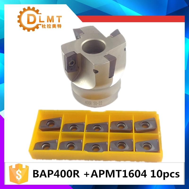 BAP400R 50 22 4T BAP 400R 63 22 4T BAP 400R 80 22 4T Flute Face End Mill Flat Cutter +10pcs APMT1604PDER Carbide Inserts precision m16 bt40 400r 63 22 face endmill and 10pcs apmt1604 carbide insert new