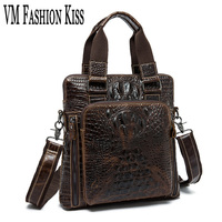 VM FASHION KISS Oil Wax Genuine Leather Male Crocodile Pattern Shoulder Bag Multi Zipper Pocket Men