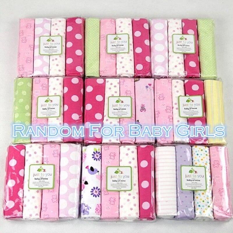 4 Unids / pack 100% algodón supersoft franela recibir bebé manta - Ropa de cama