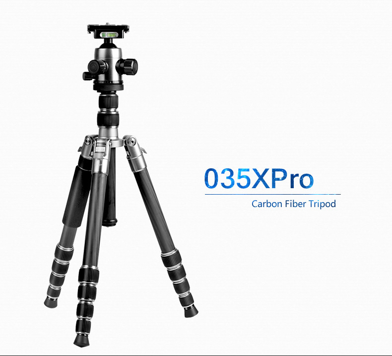 free shipping Hpusn 035XPRO professional carbon fiber with Ball head led font b tripod b font