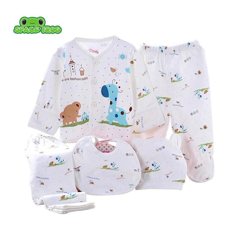 (5pcs/set)Newborn Baby Set 0-6M Cute Giraffe Infant Clothing Set Brand Boy Girl 100% Cotton Cartoon Underwear Yellow Blue Pink hhtu 2017 new infant baby girl boys sleep clothing set children cute cartoon pajamas suit newborn kids soft cotton underwear