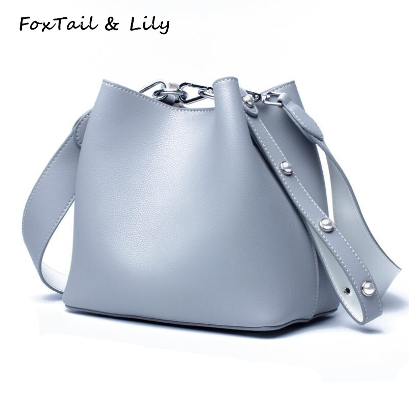 FoxTail & Lily Luxury Brand Designer Bucket Bag Women Genuine Leather Fashion Shoulder Messenger Bag Ladies Small Crossbody Bags monfere 100% genuine leather bucket bag women 2018 casual top handle shoulder bags brand designer ladies crossbody messenger bag