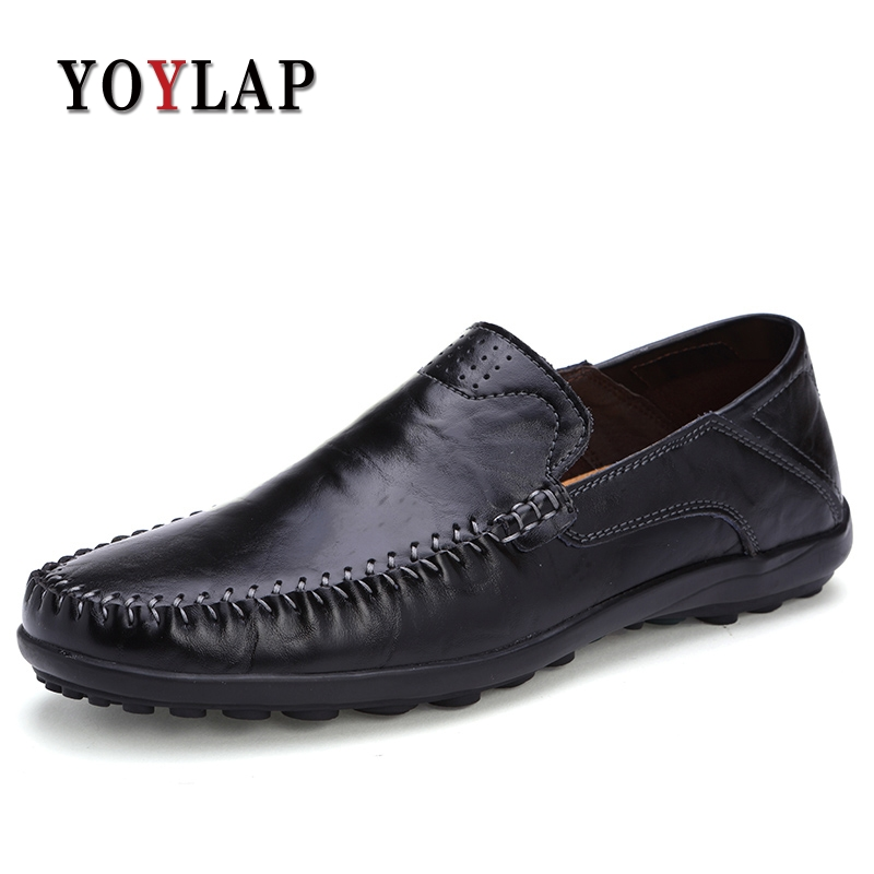 YOYLAP Brand Big size 38-46 Genuine Leather Driving Shoes Men Casual Slip On Loafers Shoes Fashion Flats shoes new fashion autumn solid color men shoes leather low slip on men flats oxford shoes for men driving shoes size 38 44 yj a0020