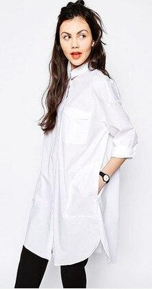 319f06655ea0 Fashion Women Long Sleeve Loose Dress white polo collar Casual Long version T  Shirt Dress free shipping