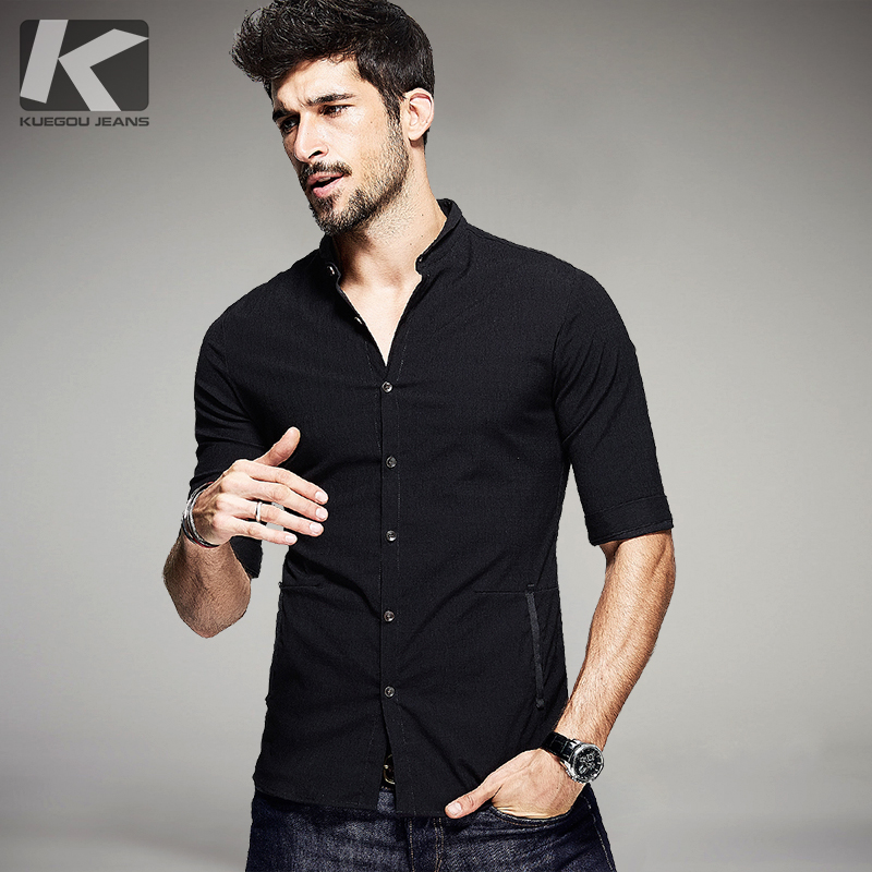 Kuegou summer mens casual shirts patchwork black color for Denim half sleeve shirt