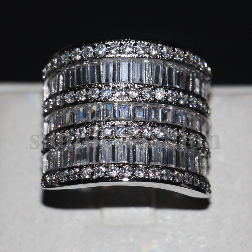 Unique Big Women Wedding Band Ring Cocktail Jewelry 925 Sterling Silver T  Shape Aaaaa Zircon Cz Female Engagement Ring