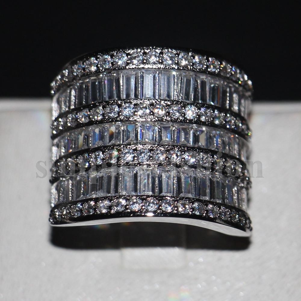 Unique Big Women Wedding Band Ring Cocktail Jewelry 925 Sterling Silver T  Shape Aaaaa Zircon Cz