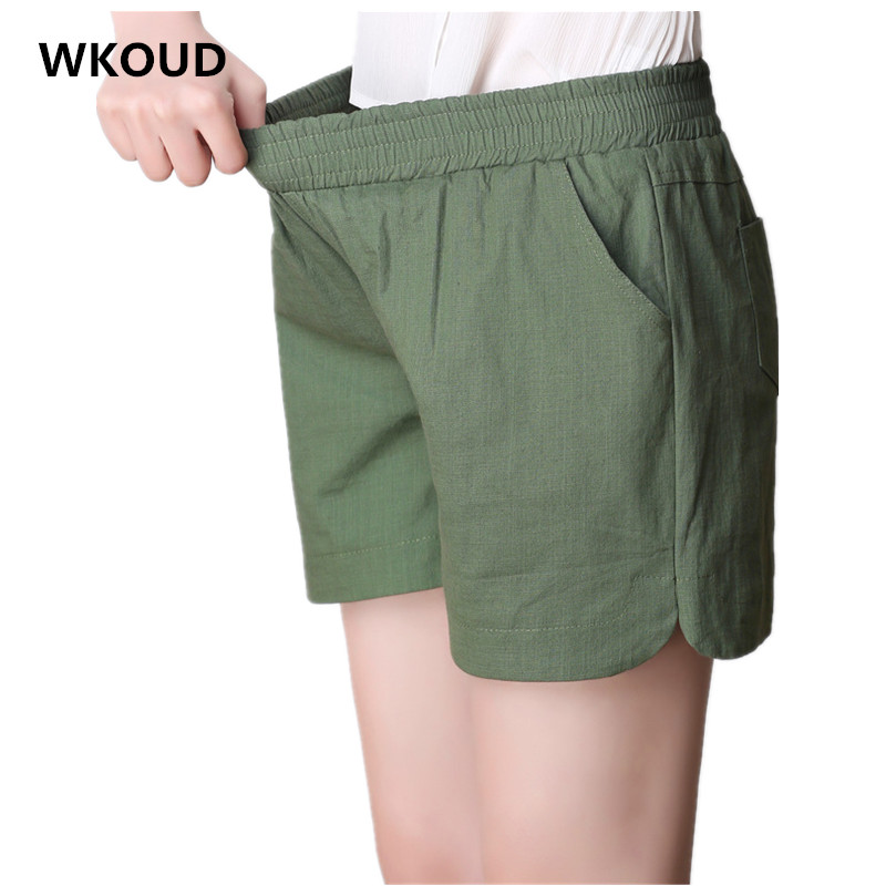 WKOUD Candy Colors Summer Thin Linen   Shorts   High Waist Hot   Short   Harem   Shorts   Plus Size Solid   Shorts   With Pockets Casual DK6035