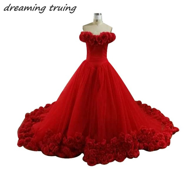 3D Floral Flower Masquerade Ball Gowns Princess 2018 Red Quinceanera ...