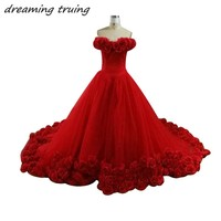 3D Floral Flower Masquerade Ball Gowns Princess 2018 Red Quinceanera Dresses Sweet 16 Dresses Birthday Party Gowns